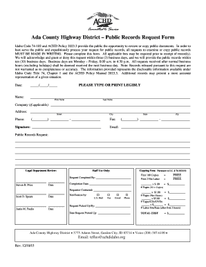 Ada County Highway District Public Records Request Form - achdidaho