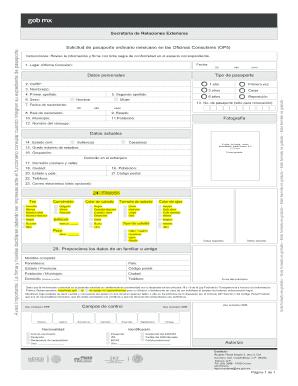 Fillable Online consulmex sre gob Solicitud de pasaporte