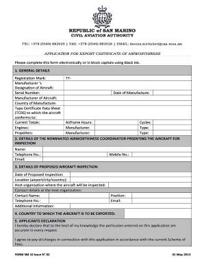application for export inspection form