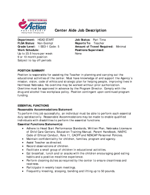 Center Aide Job Description - nencap