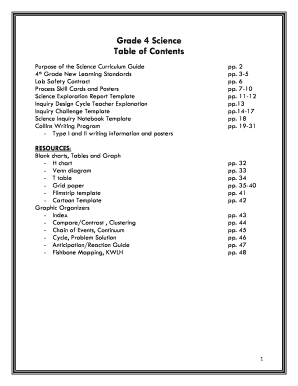 Grade 4 Science Table of Contents - Rayen High School
