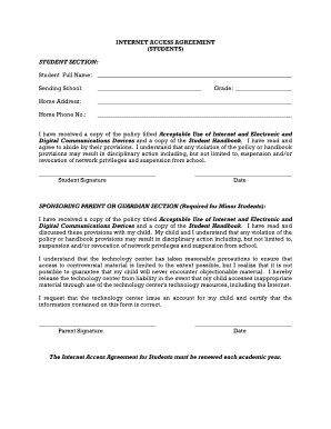 Fillable Online Mntc Internet Access Agreement Student Consent Form