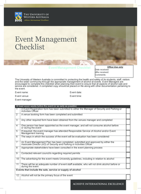 Event Management Checklist - Current Students