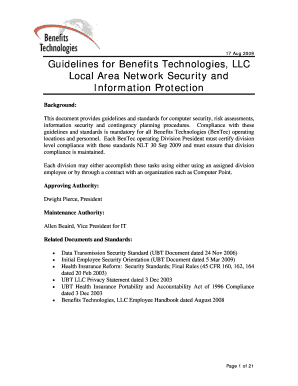 17 Aug 2009 Guidelines for Benefits Technologies LLC Local