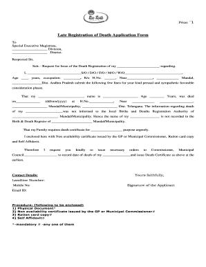 Fillable Online Late Registration of Death Application Form