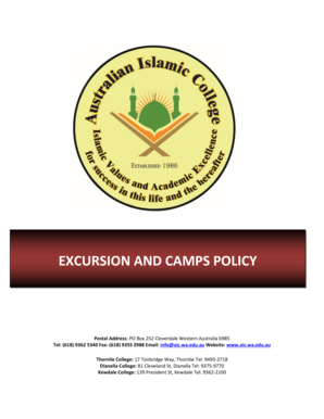 EXCURSION AND CAMPS POLICY - Australian Islamic College - aic wa edu