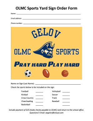 yard sign order form  Fillable Online OLMC Sports Yard Sign Order Form Fax Email ...
