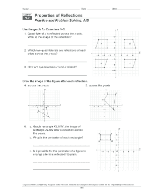 Fillable Online Properties Of Reflections 9 2 Practice And Problem Solving Fax Email Print