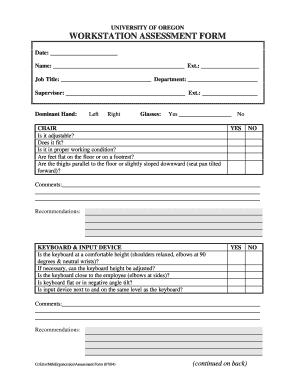 Fillable Online University Of Oregon Workstation Assessment Form Fax