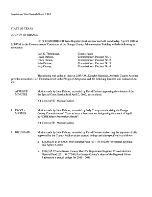 the Special Court Session held April 2, 2012, as circulated - co orange tx