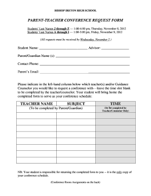 16 Printable parent teacher conference notes Forms and Templates