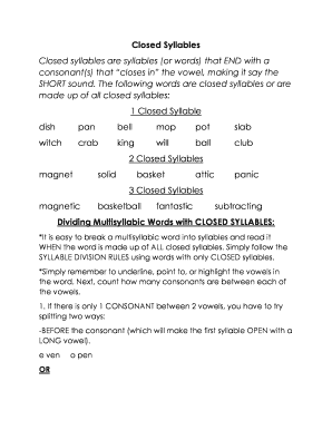 Closed Syllables Fill Online Printable Fillable Blank