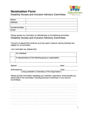 Fillable Online carnarvon wa gov Nomination Form - Shire of