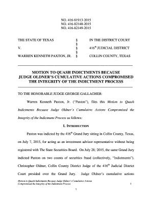 Editable motion to quash indictment texas - Fill, Print