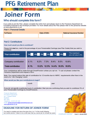 Fillable Online pfpensions co Joiner Form - Provident Financial