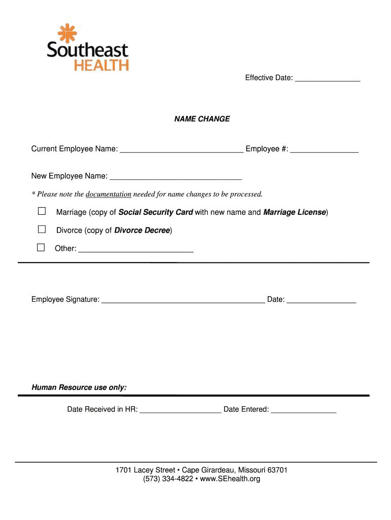 NAME CHANGE - Southeast Missouri Hospital Fill Online