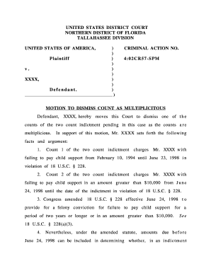 motion to dismiss template florida - Editable, Fillable