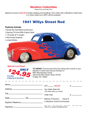 Marathon Credit Card Login >> Fillable Online 1941 Willys Street Rod Marathon Petroleum