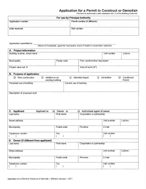 Application for a Permit to Gonstruct or Demolish This form is authorized undersubsection 8(1