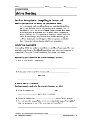 Skill Worksheet Active Reading Section Ecosystem Everything ...