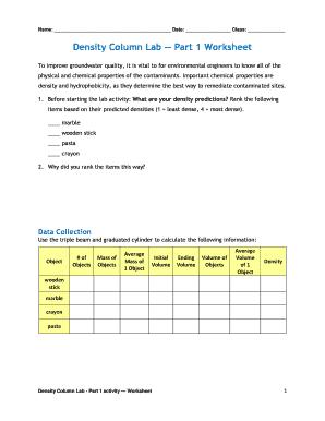 Density Column Worksheet   Fill Online, Printable ...