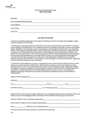 Media Release Form -- Minor - Girl Scouts of Southwest Texas