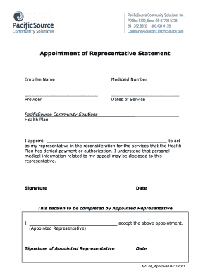 appointment of representative statement pacificsource - Sample Letter Of Appeal For Reconsideration
