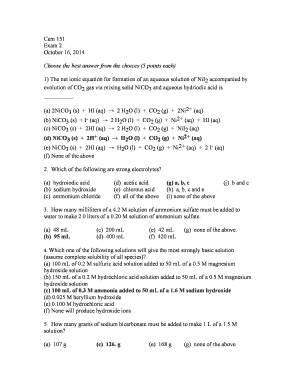 Fillable Online www2 chemistry msu Cem 151 Exam 2 - Michigan State ...