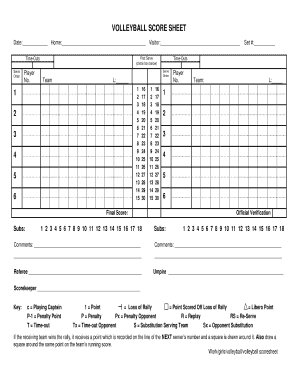 VOLLEYBALL SCORE SHEET - Home SDHSAA