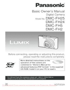fillable online panasonic lumix dmc fh20 user guide manual operating rh pdffiller com