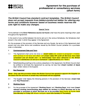 Short Consulting Agreement Template. The British Council Has Standard  Contract Templates