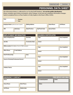 PERSONNEL DATA SHEET   Bwikisarchtamuedub  New Customer Form Template Word