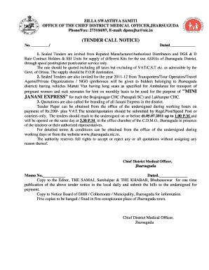 Terms conditios of Tender Notice Asha Drug Kit Janani Expressdoc