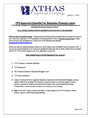 TPO Approval Checklist For Business Purpose Loans