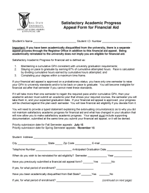Satisfactory Academic Progress Appeal Form for Financial Aid Students Name Student I
