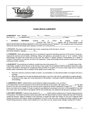 tempo renting agreement form