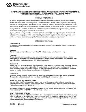 Fillable Online VA Form 21-0845 - Veteran39s Aid Fax Email Print ...