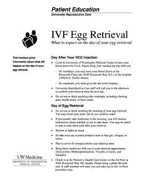 Fillable Online healthonline washington IVF Egg Retrieval