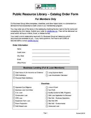 Public Resource Library Catalog Order Form - CU Business Group