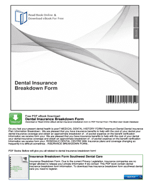 Fillable Online Dental Insurance Breakdown Form Free PDF eBook ...