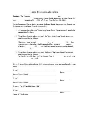 lease extension addendum lease extension addendum Forms and Templates - Fillable