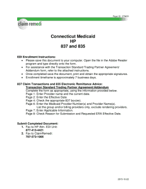 Fillable Online Connecticut Medicaid HP 837 and 835 - ClaimRemedi