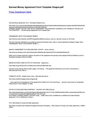 Earnest money agreement form template oregon fill online printable earnest money agreement oregon platinumwayz