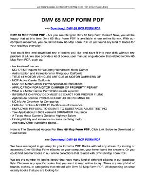 Fillable Online Jansbooks Dmv 65 Mcp Form Pdf
