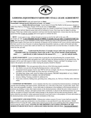 Fillable Online Barn Lease Agreement Ledesma Equestrian Farms Fax