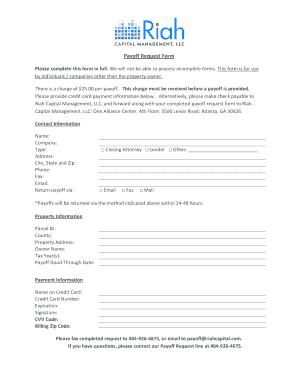 Fillable Online Riah Payoff Request Form - Riah Capital Management ...