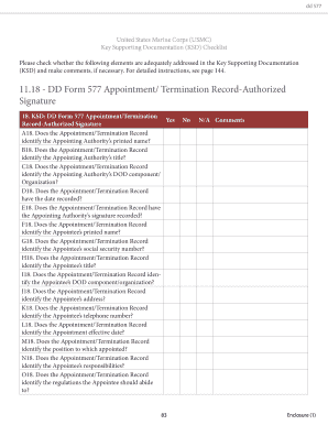 DD Form 577 Appointment/Termination Record