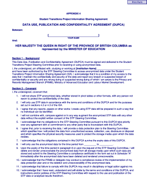 Data Use Publication And Confidentiality Agreement Dupca