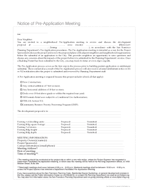 INSTRUCTION PACKET AND AFFIDAVIT FOR Pre-Application Meeting - sf-planning