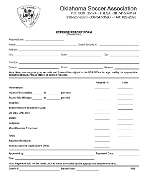 EXPENSE REPORT FORM 498 EXPENSE REPORT FORM 498